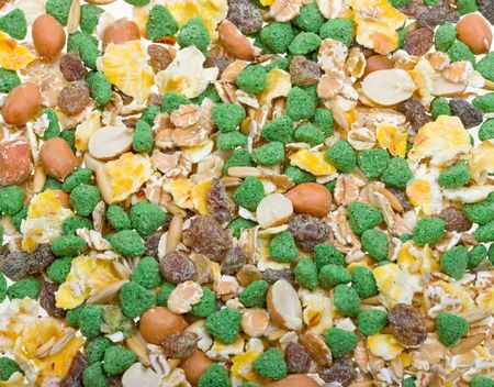 Texture mixture of rodent feed as background photo