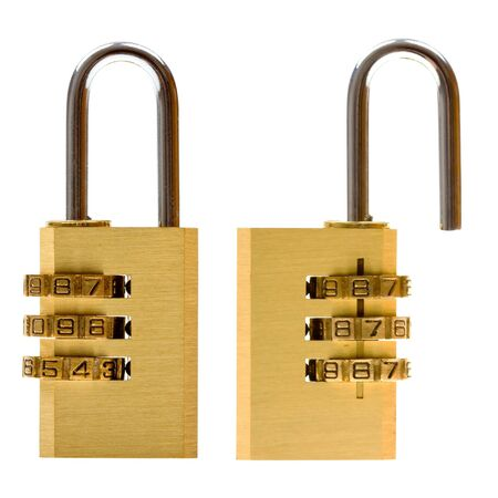 Close-up combination padlock (closed & open) isolated on white background photo
