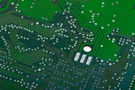 Close-up green circuit board background photo