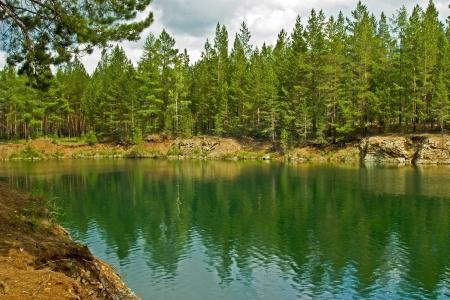 Summer landscape. Ural mountains river photo