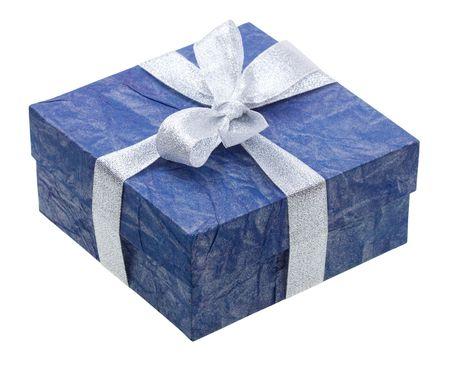 Schönen blauen Geschenk isoliert auf weißem Hintergrund Standard-Bild - 5224273