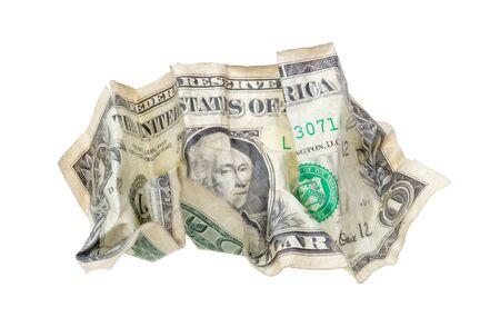 One wrinkled dollar isolated on white background   photo