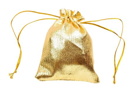 Close-up of a gold gift bag isolated on white backgroun Stock Photo - 6242813