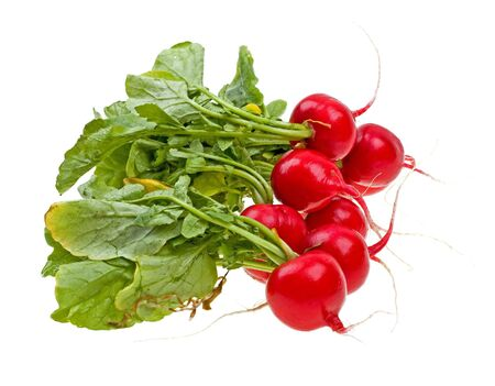 Fresh radishes isolated on white background photo