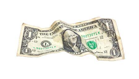 One wrinkled dollar isolated on white background