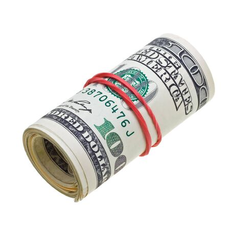 Money roll with US dollars bills isolated on white background Stock Photo - 6380223