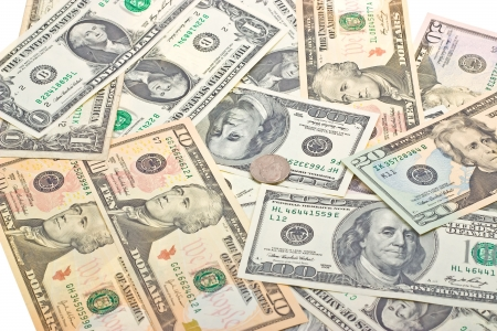 Money background from different US banknotes photo