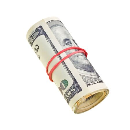 Money roll with US dollars bills isolated on white background Stock Photo - 6414280