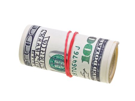 Money roll with US dollars bills isolated on white backgroun photo