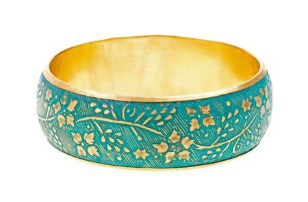 Vintage golden bracelet isolated on white background photo