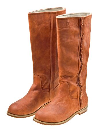 Brown woman boots isolated on white background Stock Photo