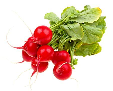 Fresh radishes isolated on white background photo