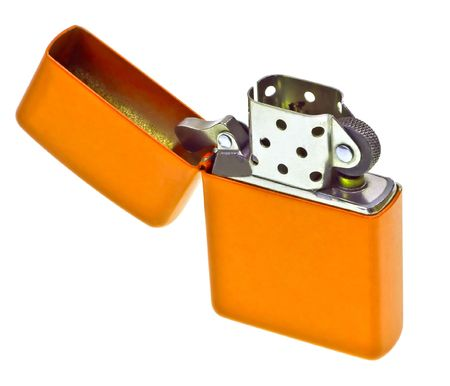 Orange lighter isolated on white background photo
