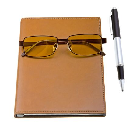 electronic organizer: Electronic organizer with glasses and pen isolated on white background