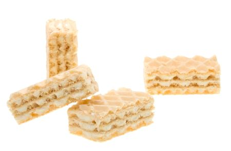 Close-up waffles isolated on white background photo