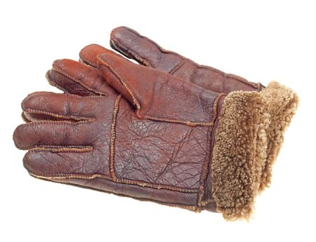 furskin: Brown fur gloves isolated on white background Stock Photo