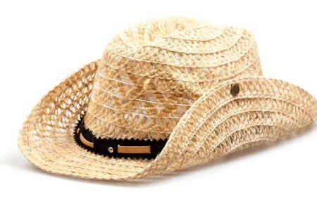 kapelusz s?omy z kowbojem wyizolowanych na bia?ym tle