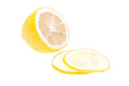 Close-up lemon slice isolated on white background Stock Photo - 6802507