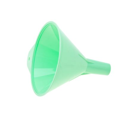 Green plastic kitchen funnel isolated on the white background Stock Photo - 6802775