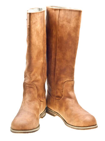 Brown woman boots isolated on white background photo