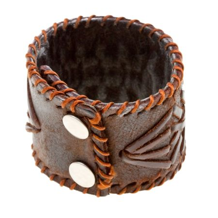 Brown leather bracelet isolated on a white background Stock Photo - 6802533