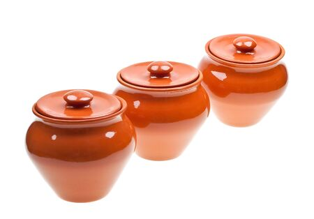 Ceramic pots for cooking isolated on white background Stock Photo - 6802756