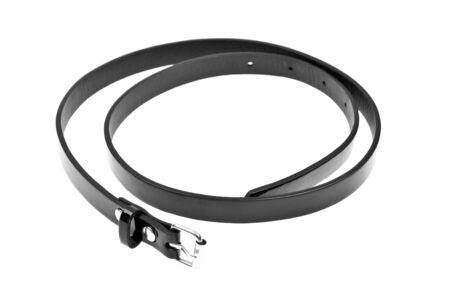 Black leather womens belt isolated on white background Stock Photo - 6802755