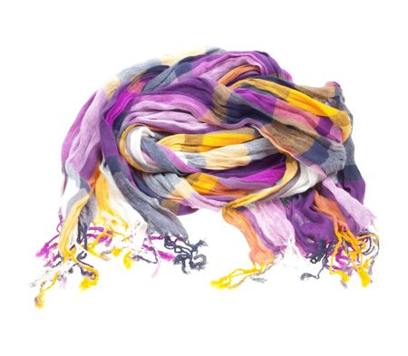 Multicolored silk scarf isolated on white background Stock Photo - 6802790