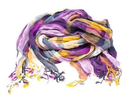 Multicolored silk scarf isolated on white background Stock Photo - 6802793