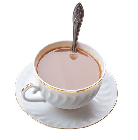 Powi� kawy z kubka mleka na izolowanych bia?e t?o
