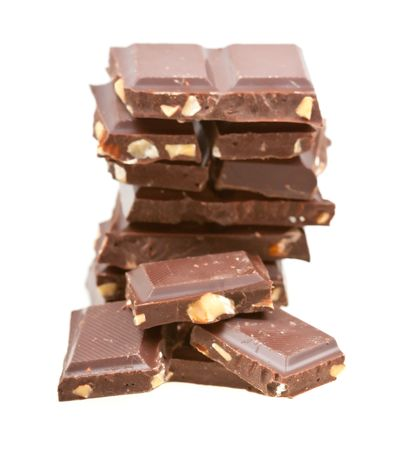 Blocks of chocolate isolated on white background Stock Photo