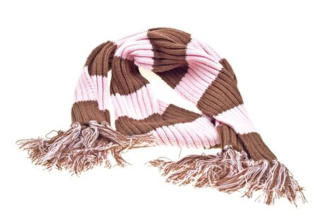Striped multicolored woolen scarf isolated on white background Stock Photo