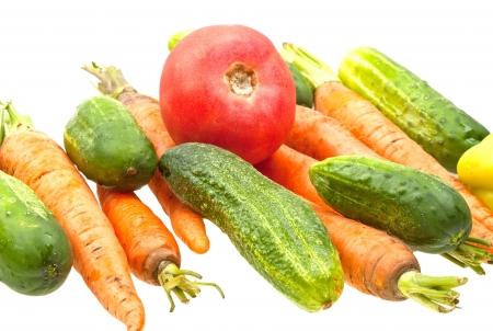 Fresh natural vegetables on white background