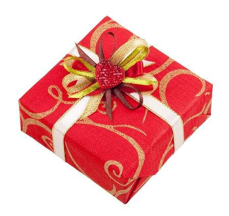 Piękny czerwony prostokąt z taśmą i serca na dary na białym tle Zdjęcie Seryjne
