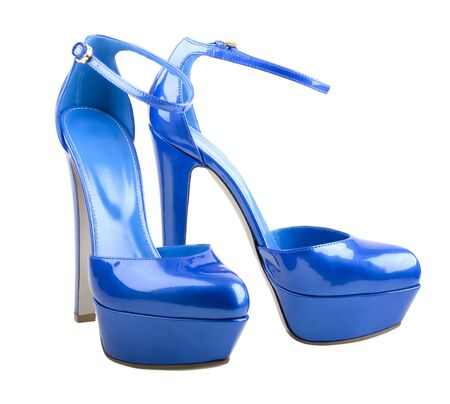 Beautiful blue woman shoes isolated on the white background photo