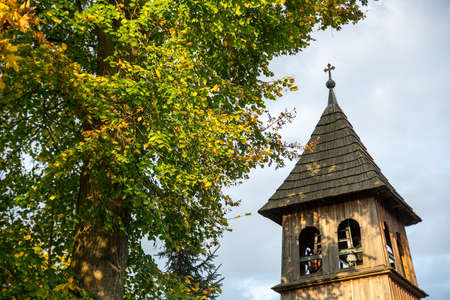 poland: Pacztowice wooden belfry in Poland Stock Photo