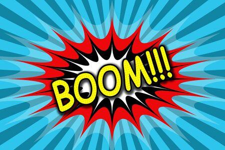 creative arts: Inscription Boom !!! in pop art style Stock Photo