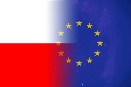 european union flag: Poland and European Union flag