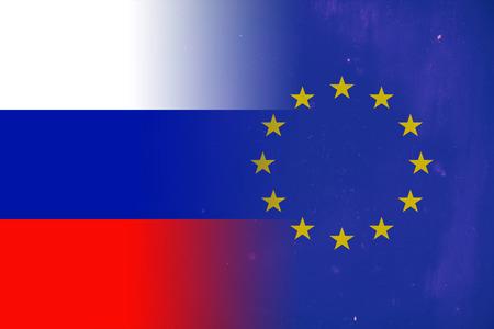 european union flag: Russian and European Union flag