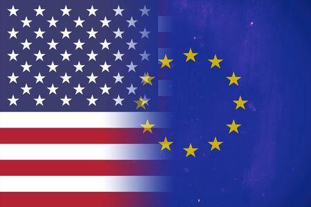 United States of America and European Union flag Stock Photo