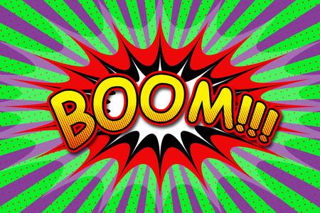 Inscription Boom in cartoon style 版權商用圖片