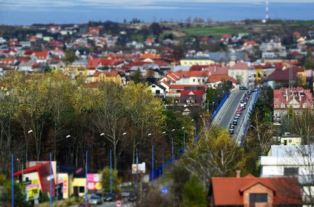 Panorama of Olkusz (Poland) with tilt-shift effect