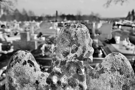 Guardian Angel on the cemetery in Boleslaw (Poland) Stock Photo