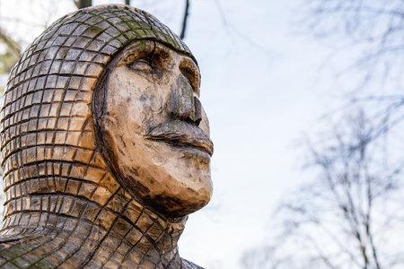 Sculpture in medieval park in Boleslaw (Poland)