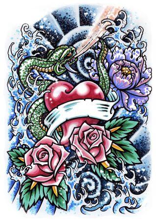 tatouage fleur: tatouage Banque d'images