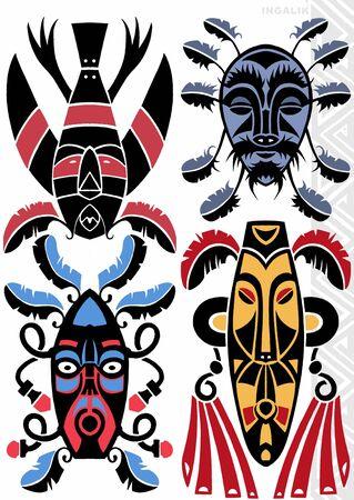 indian mask: TATTOO FLASH Stock Photo