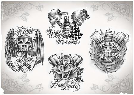 pistones: flash de tatuaje hecho por m�, sin derechos de autor