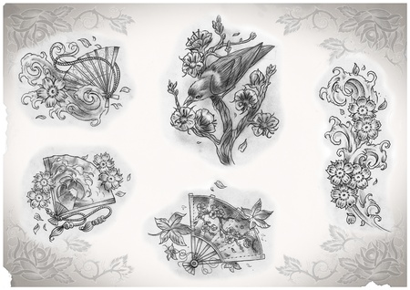 rose tattoo: tattoo flash made by me, no copyright Stock Photo