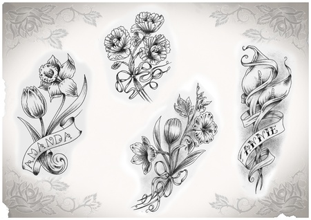 tattoo flash made by me, no copyright Stock Photo