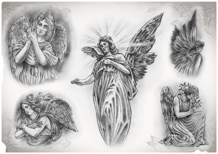 tatouage ange: tatouage fait par moi flash, pas de droits d'auteur Banque d'images